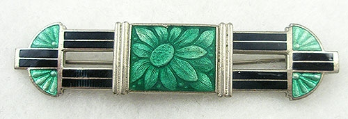 Art Deco - Art Deco Enameled Bar Pin