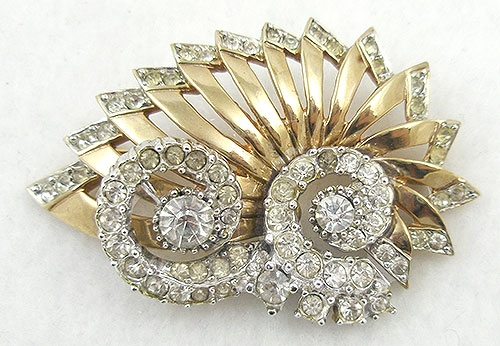 Brooches - Vintage Retro Rhinestone Shell Brooch