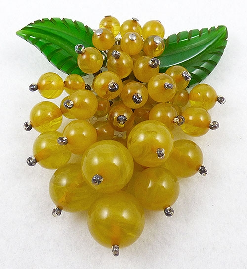 Fruits & Vegetables - Miriam Haskell Golden Bakelite Berries Dress Clip
