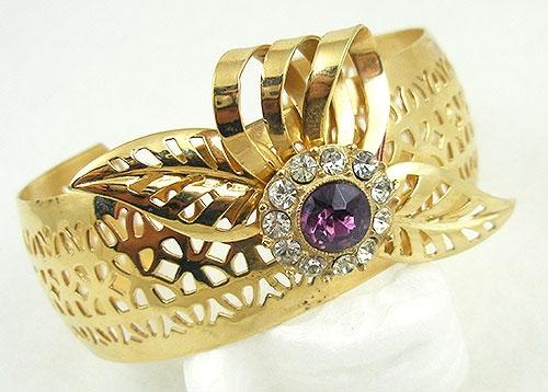 Bracelets - Retro Pierced Gold Tone Amethyst Rhinestone Bracelet