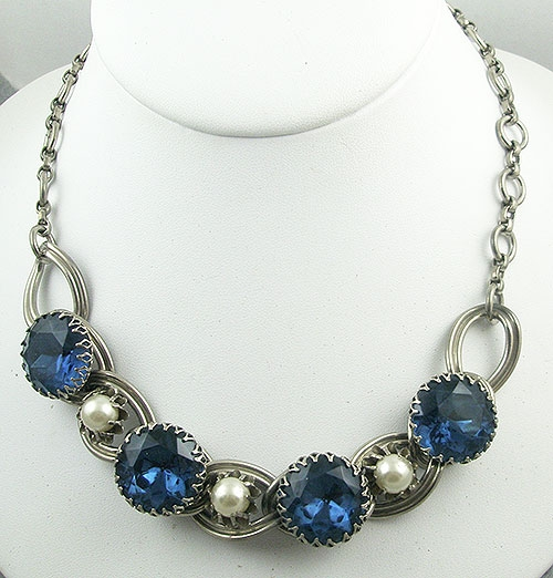 Pantone Color of the Year 2020 - Kafin NY Blue Rhinestone & Pearl Necklace