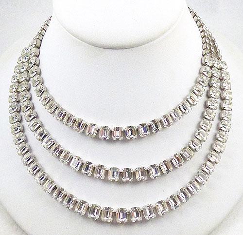 Eisenberg - Eisenberg Triple Strand Rhinestone Necklace