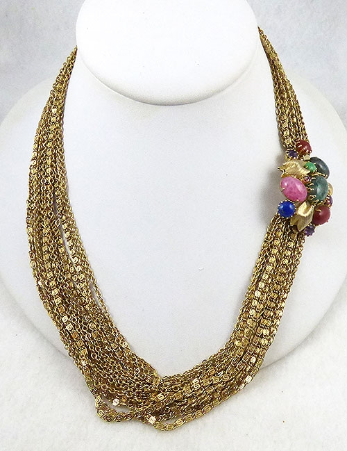 Necklaces - Gold Chains Glass Jeweled Clasp Necklace