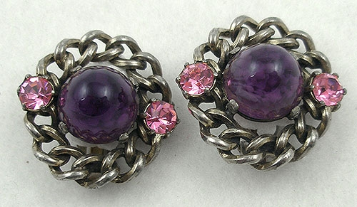 France - Schiaparelli Amethyst Bullet Cabochon Earrings