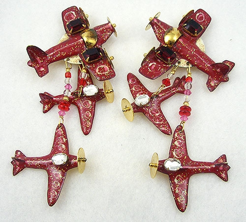 Figural Jewelry - Objects & Things - Lunch at the Ritz Vintage Airplane Earrings