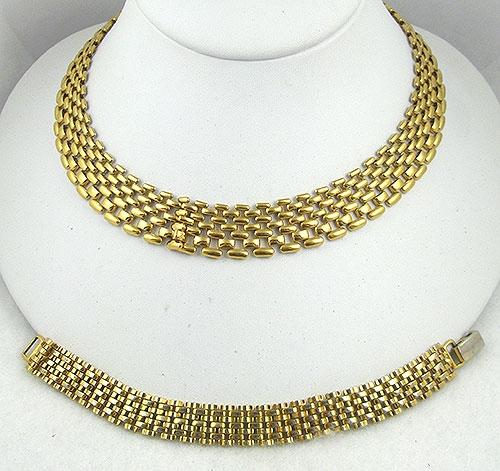 Sets & Parures - Napier Gold Mesh Necklace & Bracelet Set
