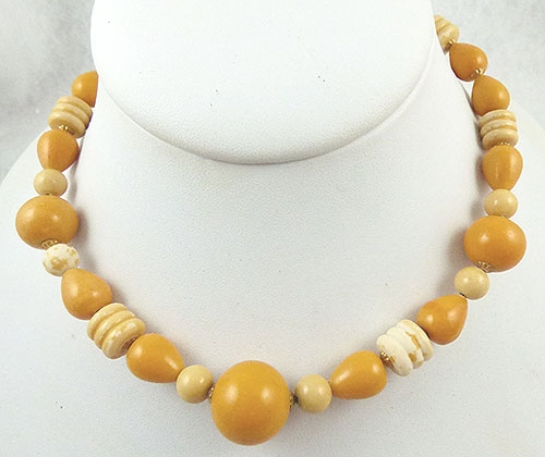 Necklaces - Honey Yellow Galalith Beads Necklace