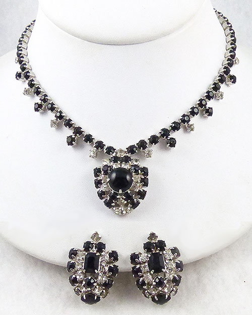 Sets & Parures - Black and Clear Rhinestone Necklace Set