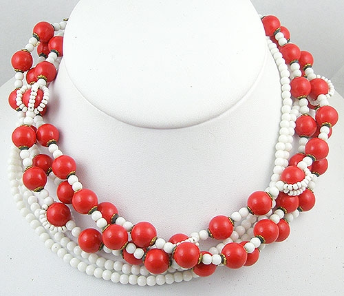 Haskell, Miriam - Miriam Haskell Red & White Bead Necklace