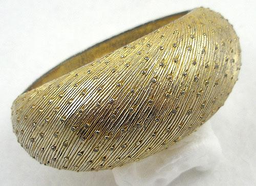 Castlecliff - Castlecliff Domed Dotted Gold Clamper Bracelet