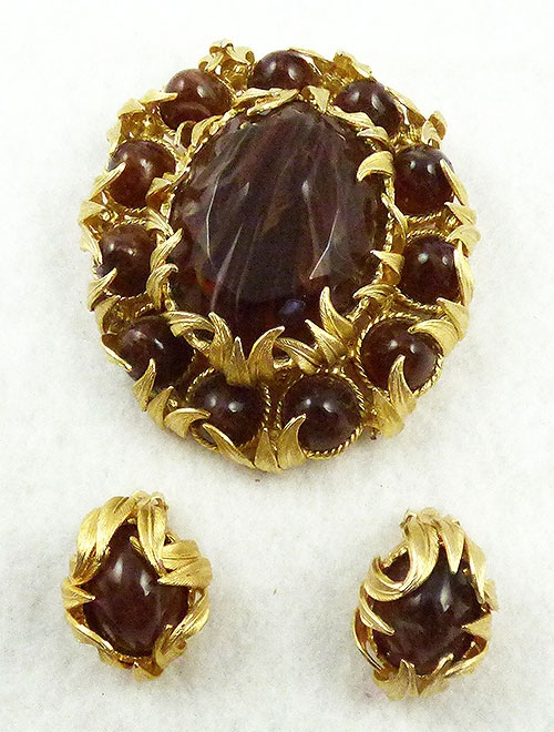 Autumn Fall Colors Jewelry - DeLizza & Elster Brown Quartz Venus Flames Brooch Set