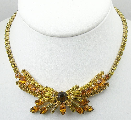 Autumn Fall Colors Jewelry - Vintage Topaz Rhinestone Bow Necklace