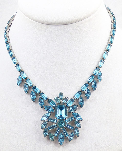 Necklaces - Joseph Wiesner Aqua Rhinestone Necklace