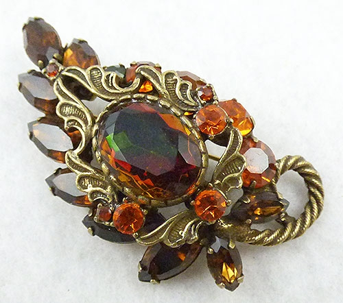 Autumn Fall Colors Jewelry - DeLizza and Elster Topaz Watermelon Leaf Brooch