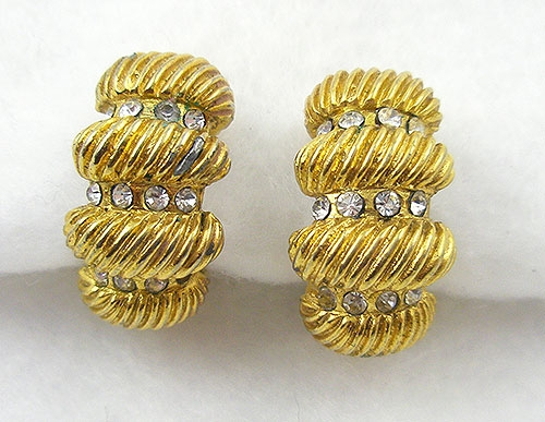 France - Vintage Chanel Gold Semi-Hoop Earrings