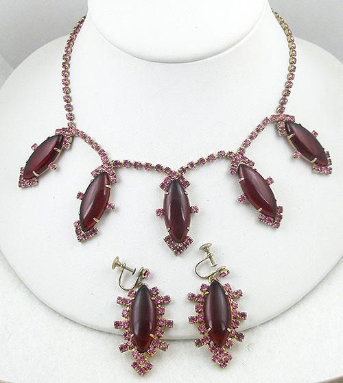 Sets & Parures - Vintage Red & Pink Necklace Set