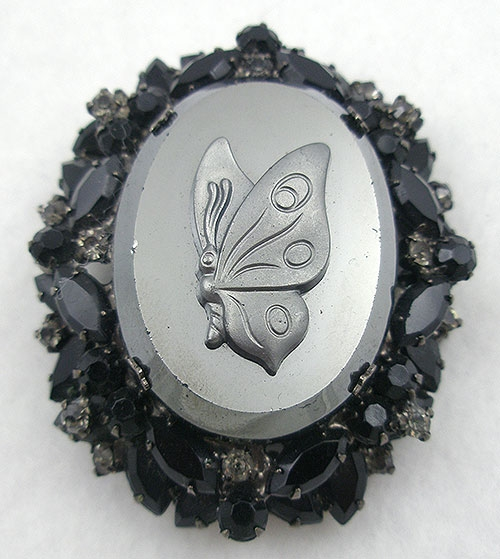 Brooches - DeLizza & elster Hematite Butterfly Brooch