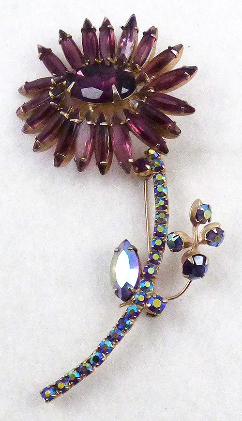 Florals - DeLizza and Elster Amethyst Flower Brooch