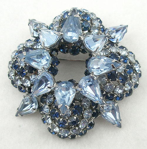 Brooches - Warner Domed Blue Rhinestone Brooch