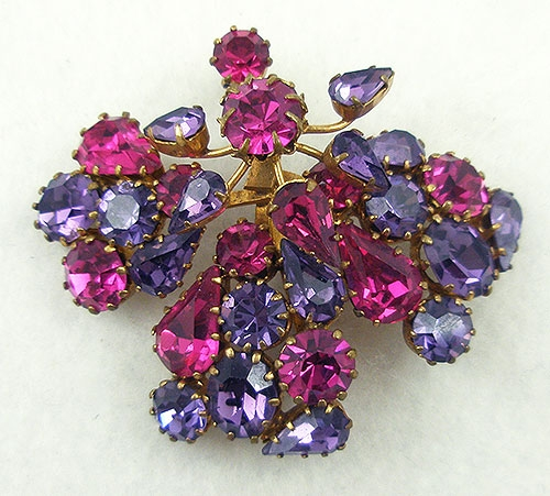 Brooches - Austria Fuchsia & Purple Rhinestone Brooch