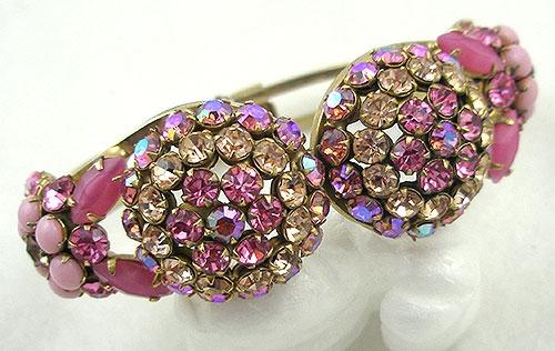Bracelets - Domed Pink Rhinestone Clamper Bracelet