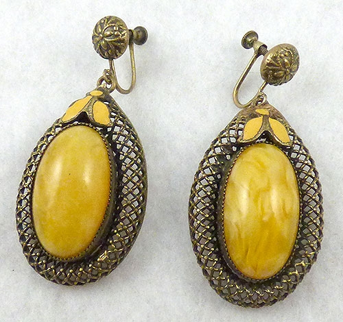 Earrings - Czech Yellow Glass Earrings