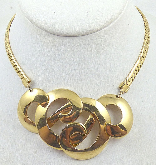 Necklaces - Gold Tone Swirls Necklace