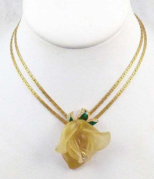 Florals - Yellow Resin Rose Necklace