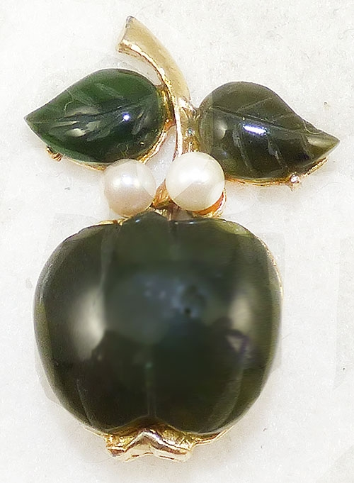 Newly Added Jade and Pearl Apple Brooch