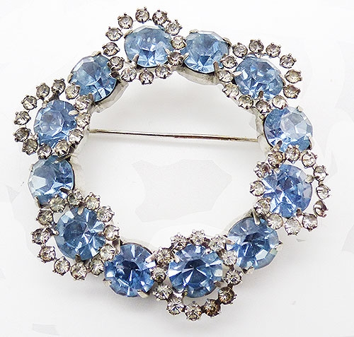 Newly Added Light Blue Rhinestone Circle Brooch