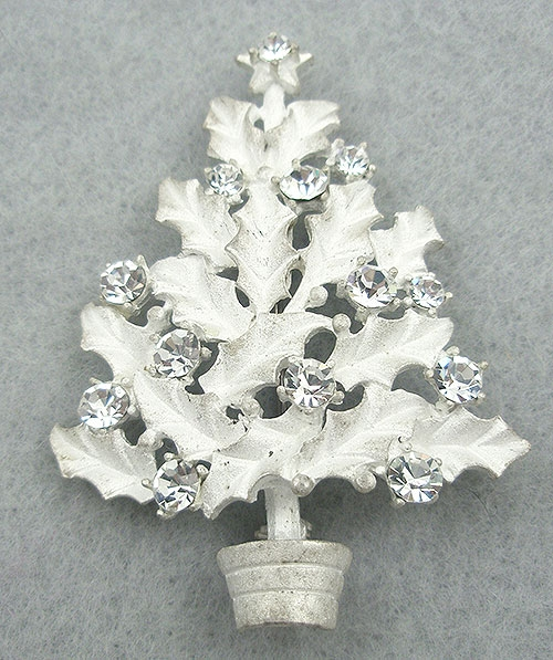Christmas and Holidays - Eisenberg Ice White Holly Christmas Tree Brooch