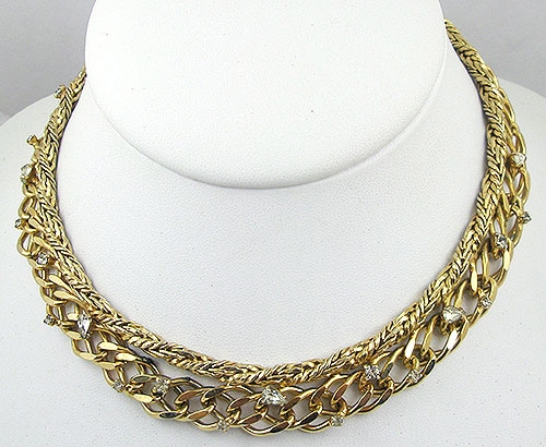 Necklaces - Hattie Carnegie Gold Chain & Rhinestone Necklace