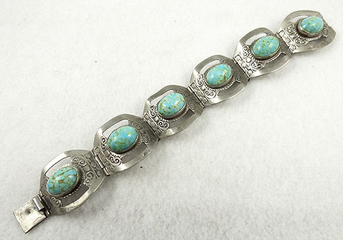 Mexico - Mexican Sterling Turquoise Glass Bracelet