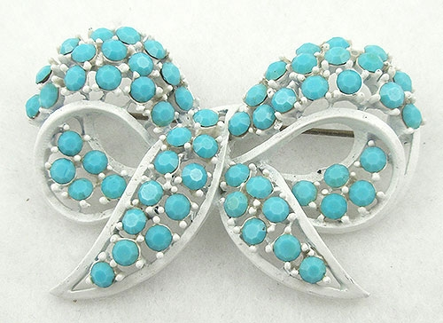 Brooches - Lisner White Japanned Aqua Rhinestone Bow Brooch