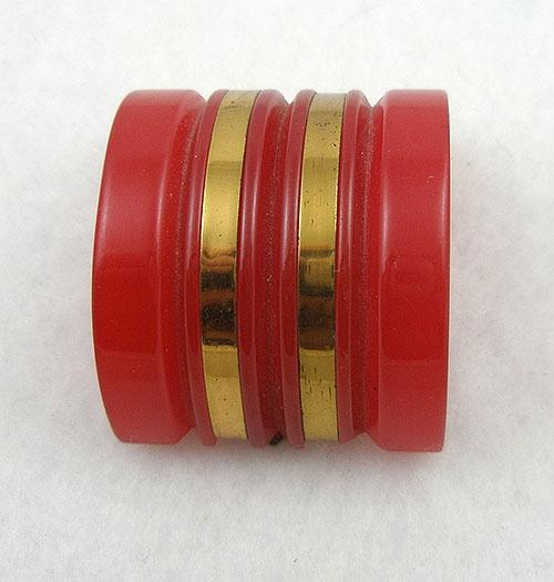 Bakelite, Celluloid, Galalith - Red Bakelite Dress Clip