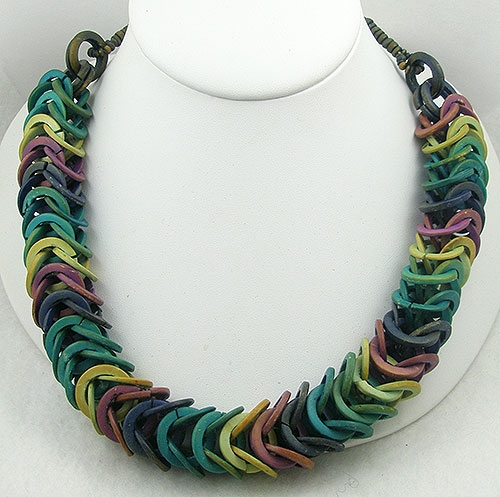 Ethnic & Boho - Rainbow Wooden Chain Link Necklace