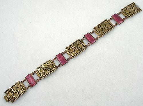 Bracelets - Art Deco Brass Repousse & Enamel Bracelet