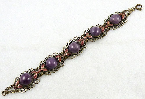 Bracelets - Czech Purple Glass Moonstone Bracelet
