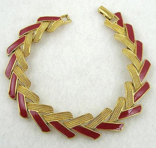 Monet - Monet Red Enamel Vee Link Bracelet