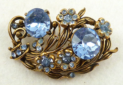 Brooches - Hollycraft Light Saphire Rhinestone Floral Brooch