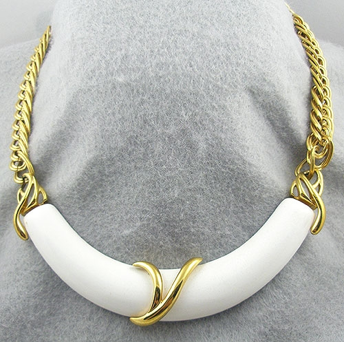 Monet - Monet Gold Chain White Centerpiece Necklace
