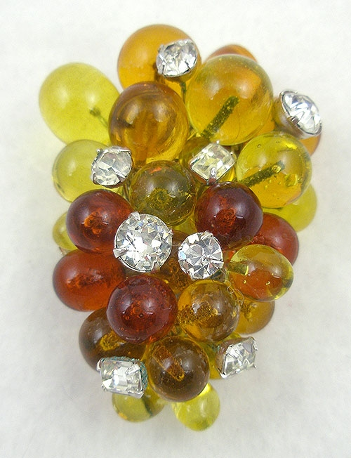 Autumn Fall Colors Jewelry - Eisenberg Topaz Glass Grapes Fur Clip