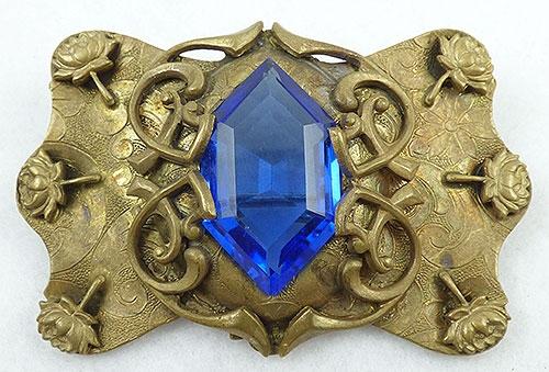 Brooches - Art Nouveau Sapphire Glass Sash Pin