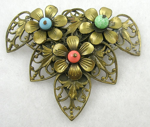Dress & Fur Clips - Czech Brass Filigree Dress Clip