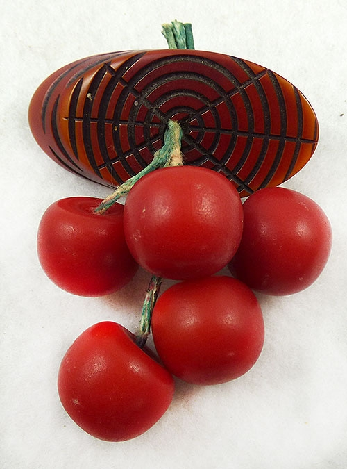 Fruits & Vegetables - Red Bakelite Dangling Cherries Brooch