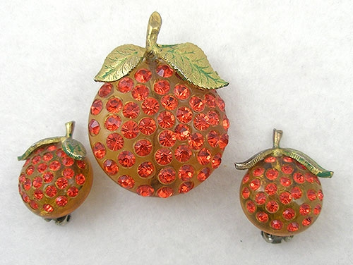 Fruits & Vegetables - Forbidden Fruit Orange Brooch & Earrings Set