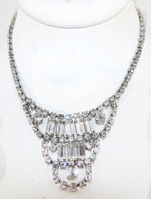 Bridal, Wedding, Special Occasion - Rhinestone Baguette Bib Necklace