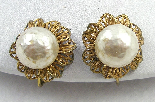 Pearl Jewelry - Miriam Haskell Filigree Pearl Earrings