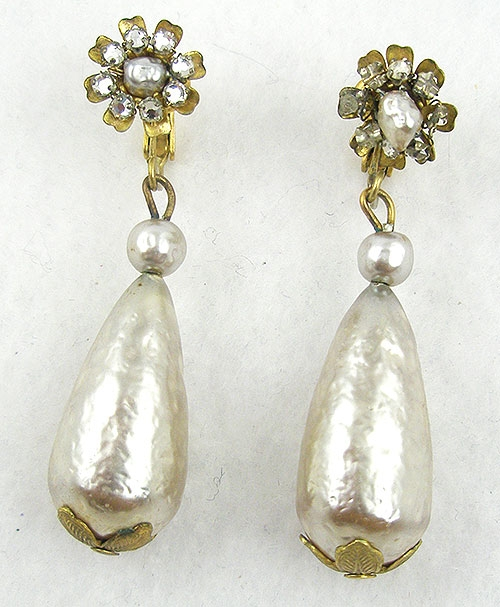 Pearl Jewelry - Miriam Haskell Pearl Drop Earrings