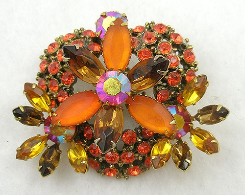 Autumn Fall Colors Jewelry - Vintage Orange & Topaz Rhinestone Brooch